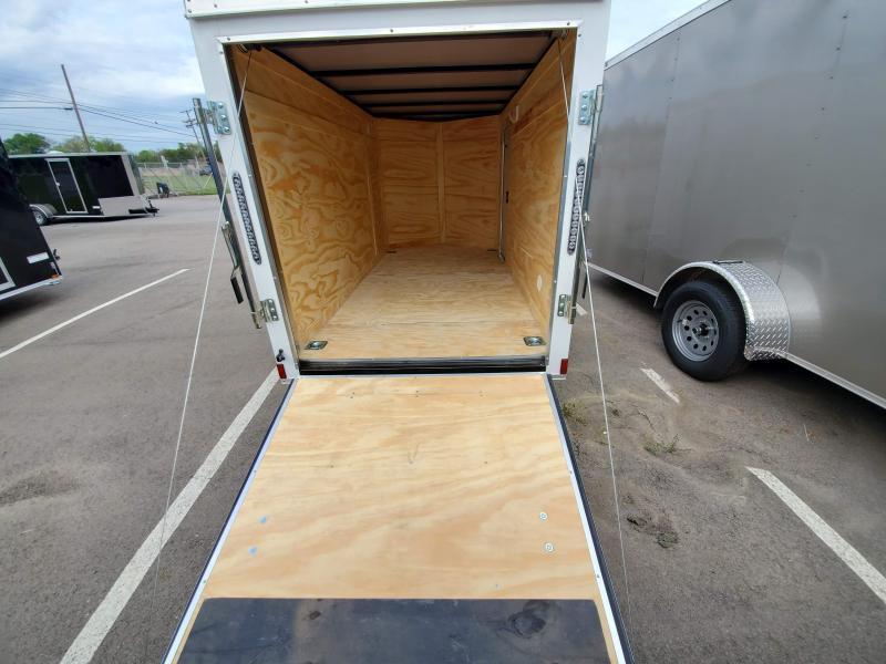 2021 Anvil 5x10 V-Nose Enclosed Trailer Ramp Door White
