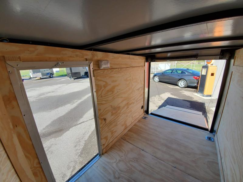 2021 Anvil 5x8 V-Nose Enclosed Trailer Ramp Door Charcoal