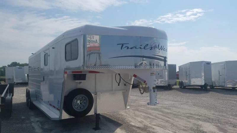 2020 Trails West Manufacturing 4 Horse Goose Neck Slant Load Horse Trailer