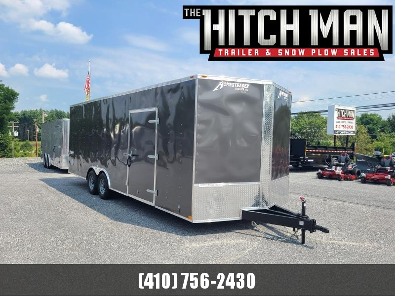 """8.5' x 24' Homesteader Intrepid V-Nose Cargo Trailer, 10K **Charcoal w/6"""" Extra Height"""