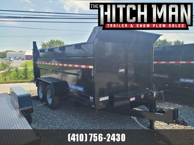 7 x 14 Sure-Trac HD 4' High Side Dump Trailer, 14k  **Scissor Hoist w/Tarp Kit & 110V Battery Charger