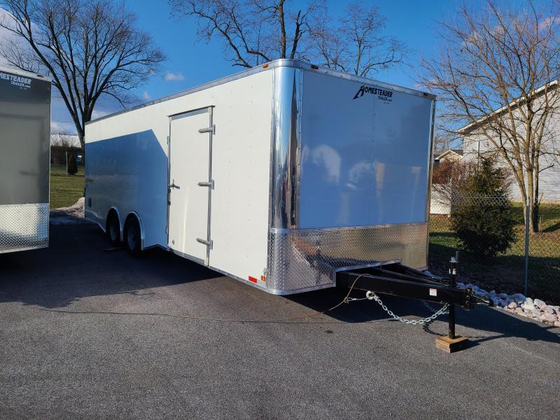 8 5 x 24 Homesteader Champion SGT 10k Enclosed Car Hauler  **White w/Spread Torsion Axles