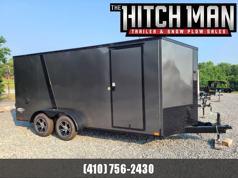 """7 x 16 Look Element SE V-Nose Cargo 7K  **Charcoal Gray w/ Blackout Package, 6"""" Added Height, & Alum Wheels"""