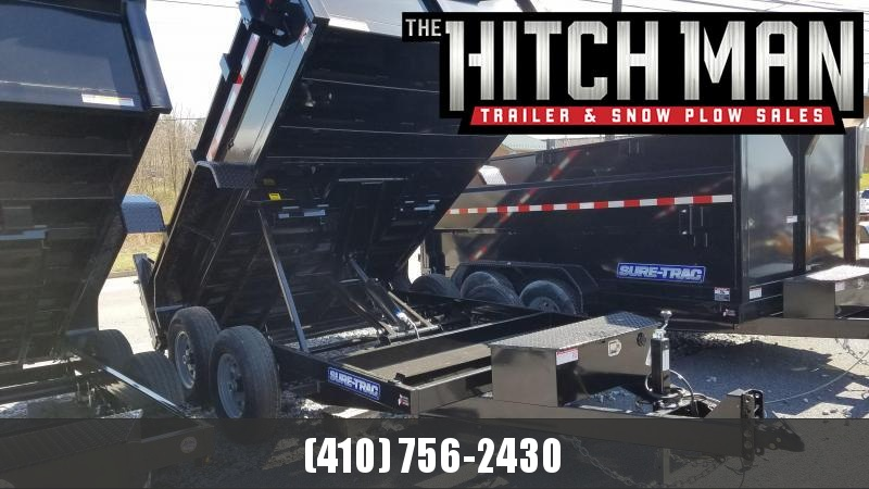 7 x 12 Sure Trac Scissor Hoist HD Dump Trailer 12k w/Tarp Kit Installed