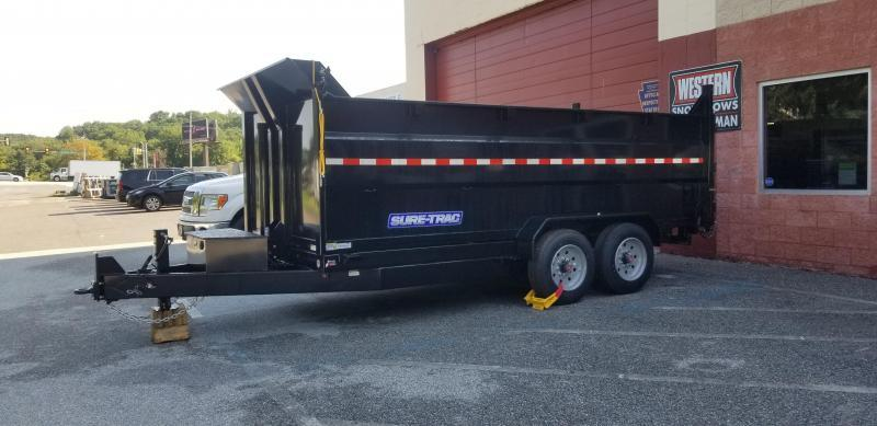 82in x 16 Sure-Trac HD LProfile Telescopic 4ft High Side Dump 16k