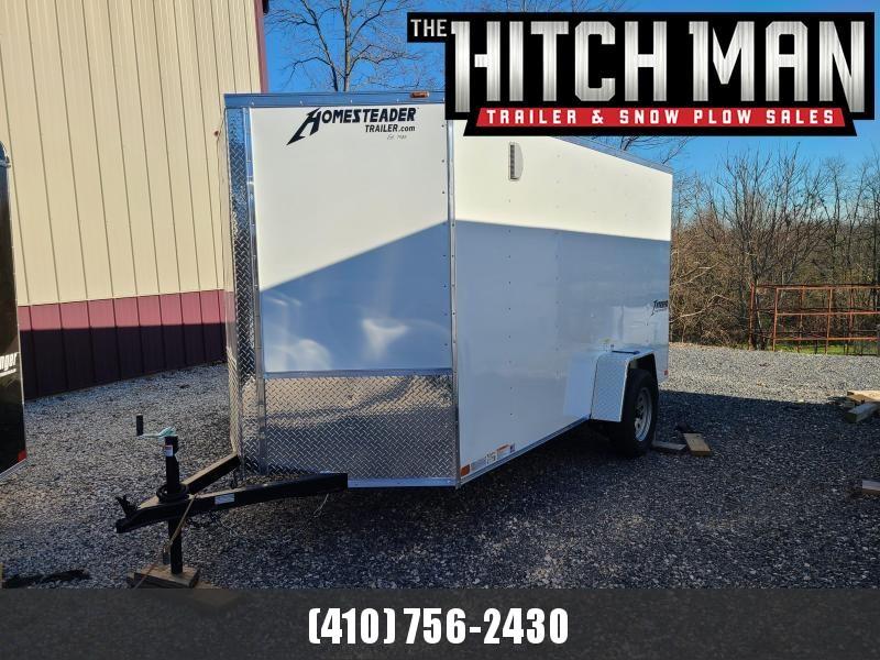 6 x 12 Homesteader Intrepid V Nose Cargo Trailer 3k **WHITE w/Ramp Door Package
