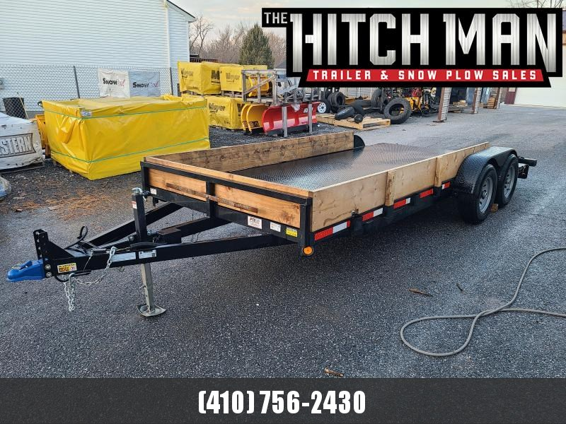 2021 Used 7 x 18 Quality Steel Deck Car Trailer, 10K