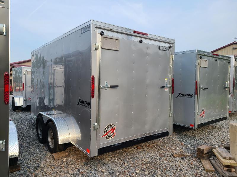 "7 x 14 Homesteader Intrepid V-Nose Cargo 7k **Silver w/6"" Extra Height & Ramp Door Package"