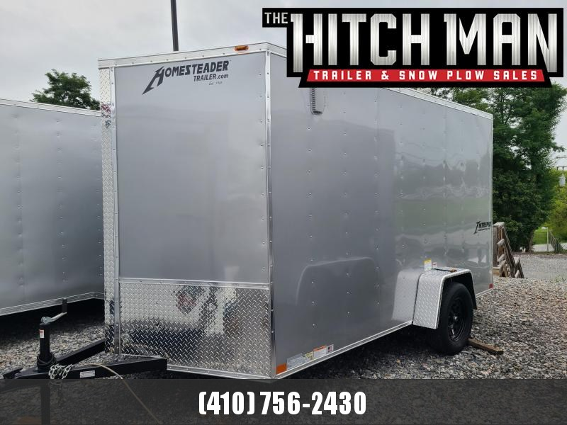 """7 x 12 Homesteader Intrepid V-Nose Cargo Trailer, 3k  **Silver w/ 6"""" Extra Height & Ramp Door Pkg."""