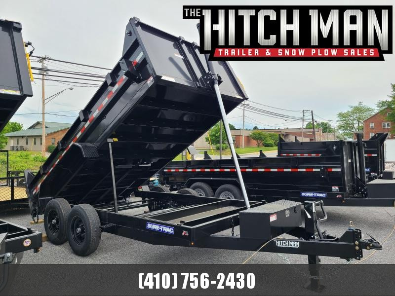 7 x 14 Sure-Trac  HD Telescopic Dump Trailer 14K  **Black w/Tarp Kit & Battery Charger