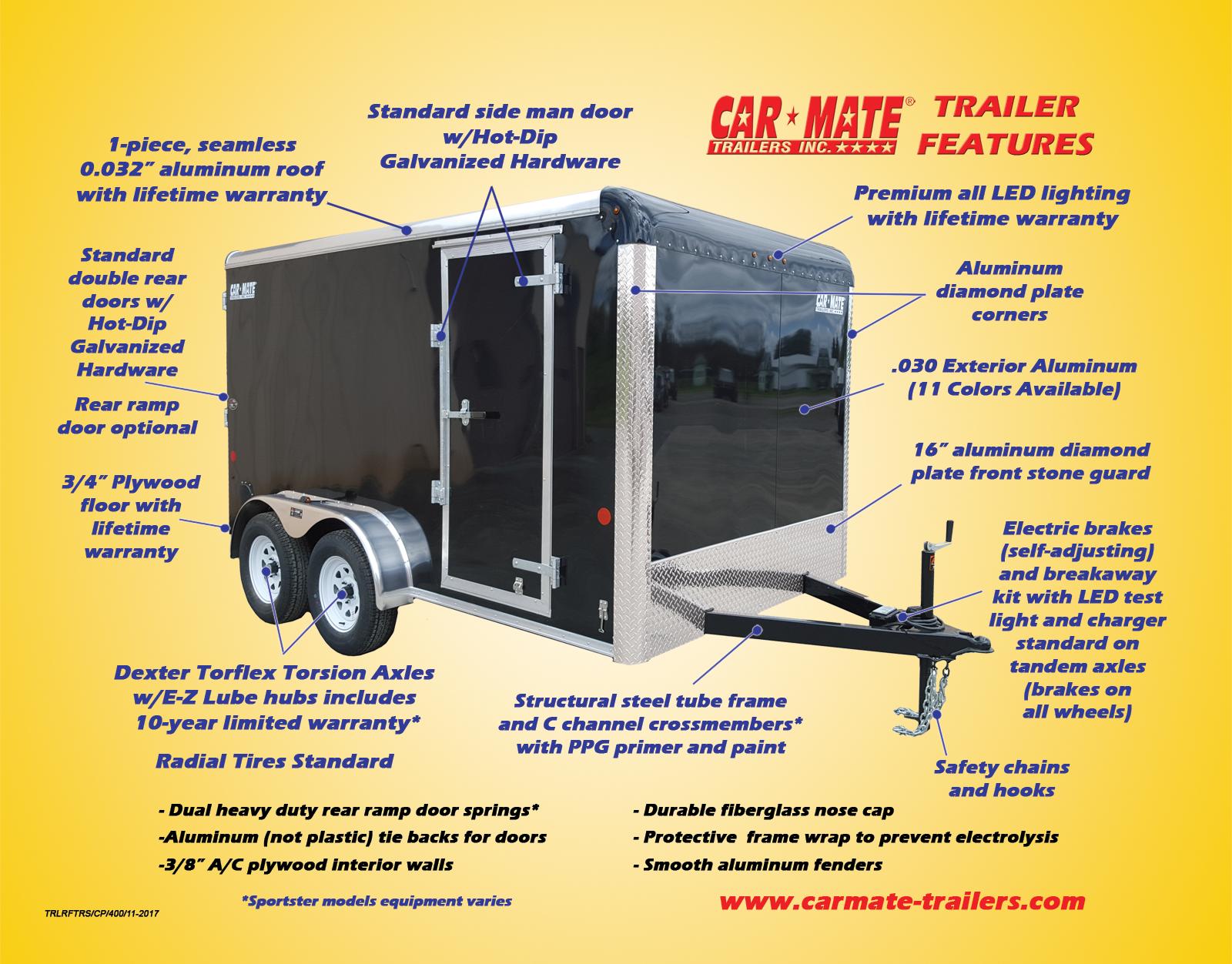 7 x 16 Car Mate Liberty Sport V Nose Enclosed Cargo Trailer 7K