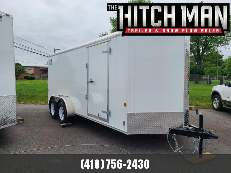 7 x 16 Car Mate Liberty Sport V-Nose Enclosed Cargo Trailer 7K  **White w/Ramp Door