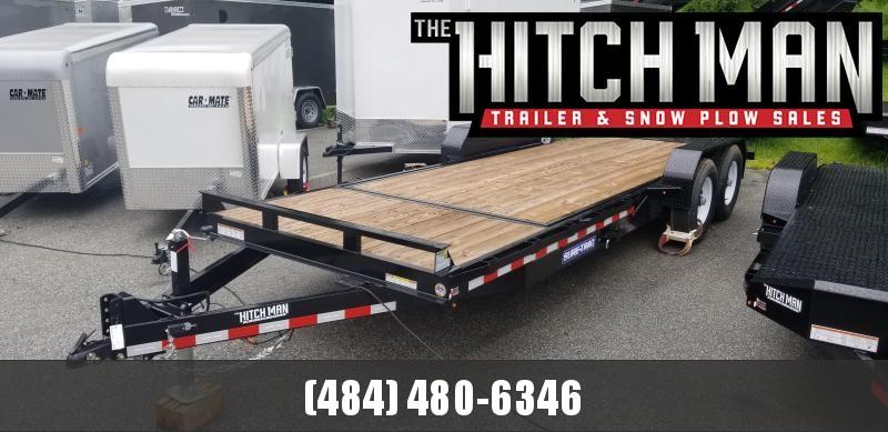 7 x 18 + 4 Sure-Trac Tilt Equipment Trailer 4' Stationary Deck 14k