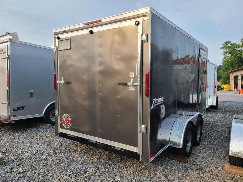 "7 x 14 Homesteader Intrepid V-Nose Cargo 7k **Charcoal w/6"" Extra Height & Ramp Door Package"