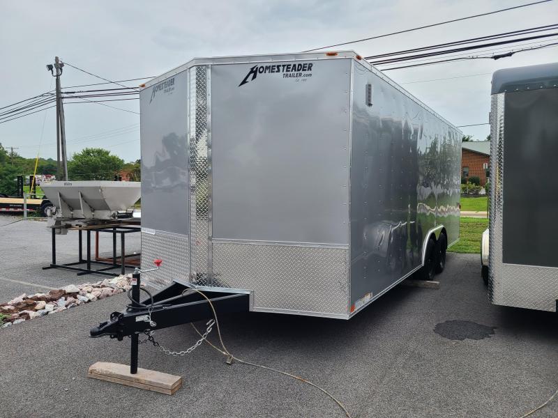 "8.5 x 20 Homesteader Intrepid V-Nose Cargo/Car Hauler, 7k  ***Silver w/ Ramp Door Pkg., 48"" Side Door, & Extended Tongue"