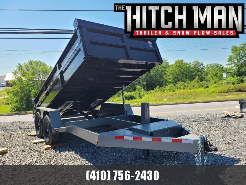 7 x 14 BWISE HD Low Profile 15K Dump Trailer **Black w/Hammertone Gray Frame, Alum Ramps, Fork Holders, Tarp Kit