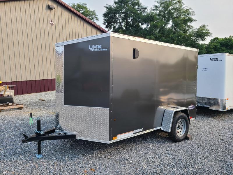 6 x 10 Look Element SE V-Nose Cargo Trailer 3k  ***Charcoal w/ Ramp Door