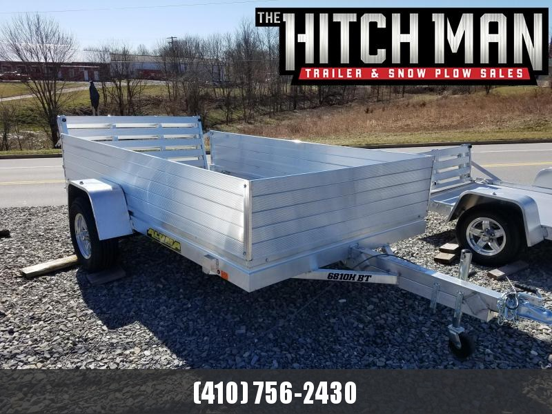 "5' 8"" x 10' Aluma 6810H Aluminum Utility Trailer 3K w/ Bi-Fold Rear Gate & 24"" Solid Side Kit"