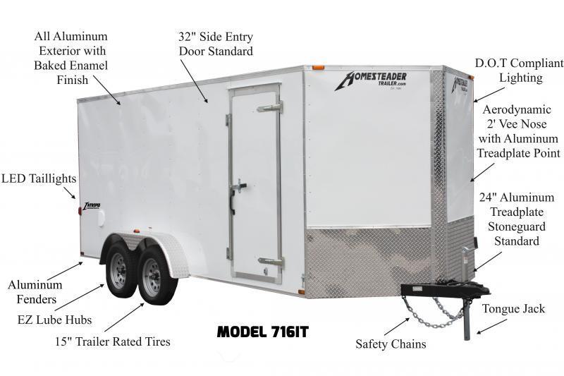 7 x 16 Homesteader Intrepid V-Nose Cargo 7k **White
