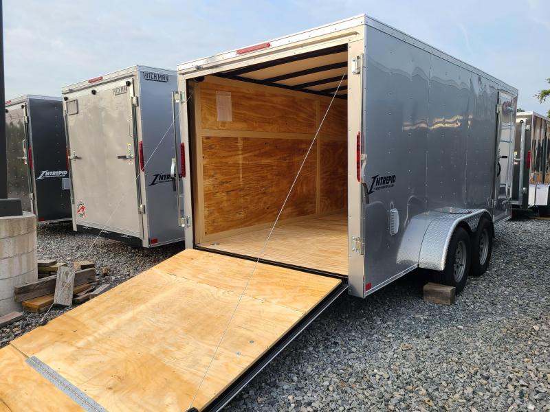 7 x 16 Homesteader Intrepid V-Nose Cargo 7k **Silver w/Ramp Door Package