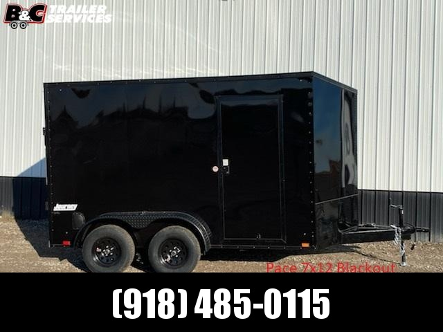 NEW 2021 7x12 + V NOSE w\ 7' interior height alum. wheels blackout package