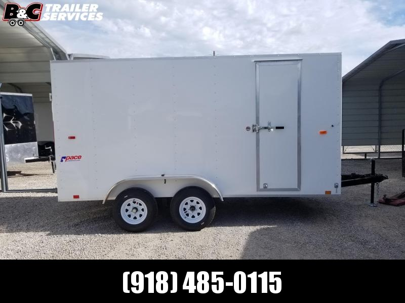 NEW 2021 7X16 + V NOSE  PACE AMERICAN ENCLOSED TRAILER W\ RAMP REAR DOOR