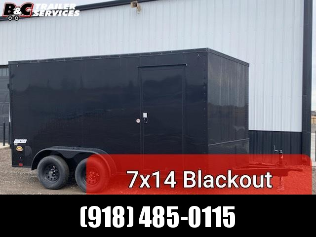 2021 Pace American NEW 2021 PACE AMERICAN 7X14 + V NOSE  ENCLOSED CARGO WITH REAR RAMP DOOR and smooth sides w\ black out package Enclosed Cargo Trailer