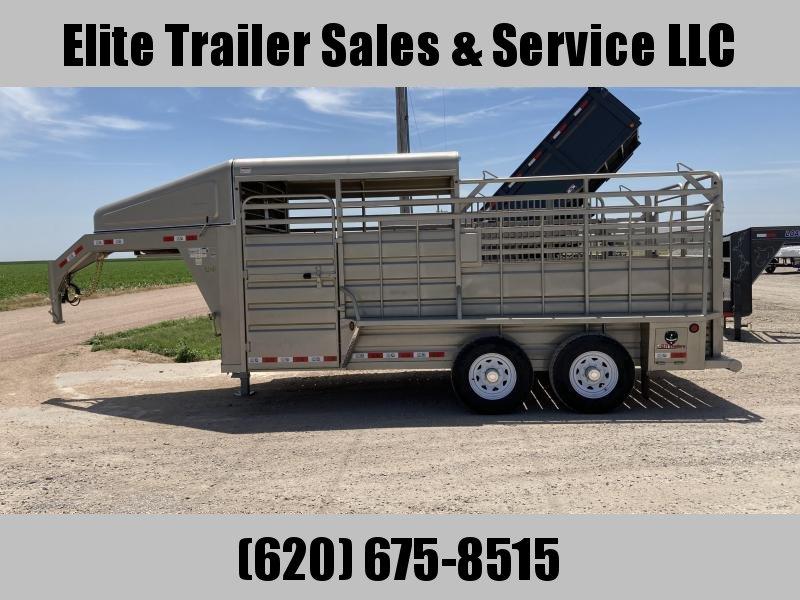 2021 GR Trailers 6.8' x 16' Gooseneck Tandem Axle Trailer (STH6816W14LNR) Livestock Trailer