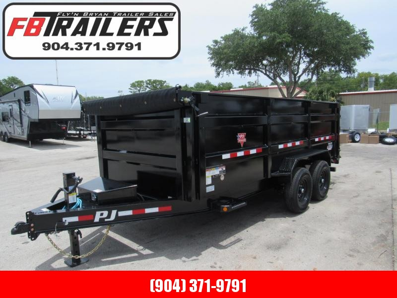 2021 PJ Trailers 7X16 4ft High Sides Dump Trailer
