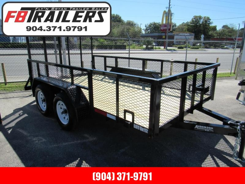 2021 Anderson Manufacturing 6X12 Tandem with 2Ft Mesh Sides Utility Trailer