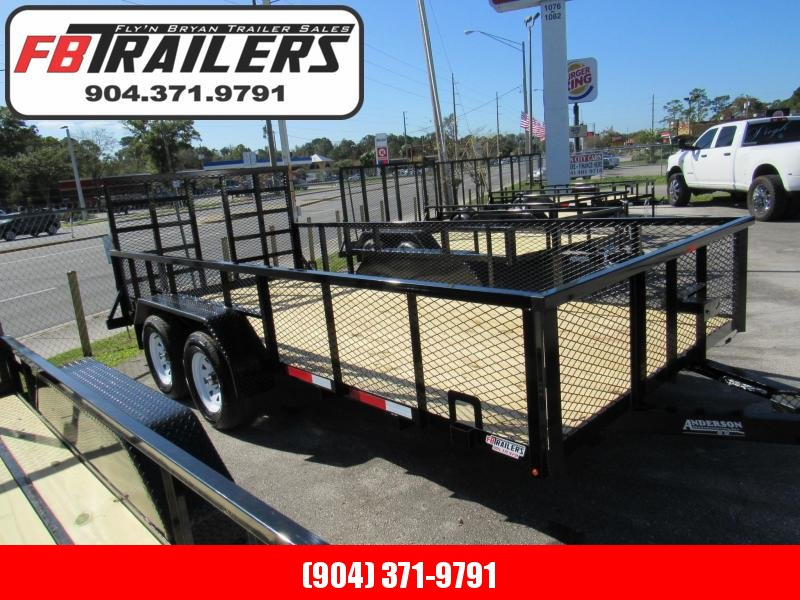 2021 Anderson Manufacturing 7X16 Tandem with 2ft Mesh Sides Utility Trailer