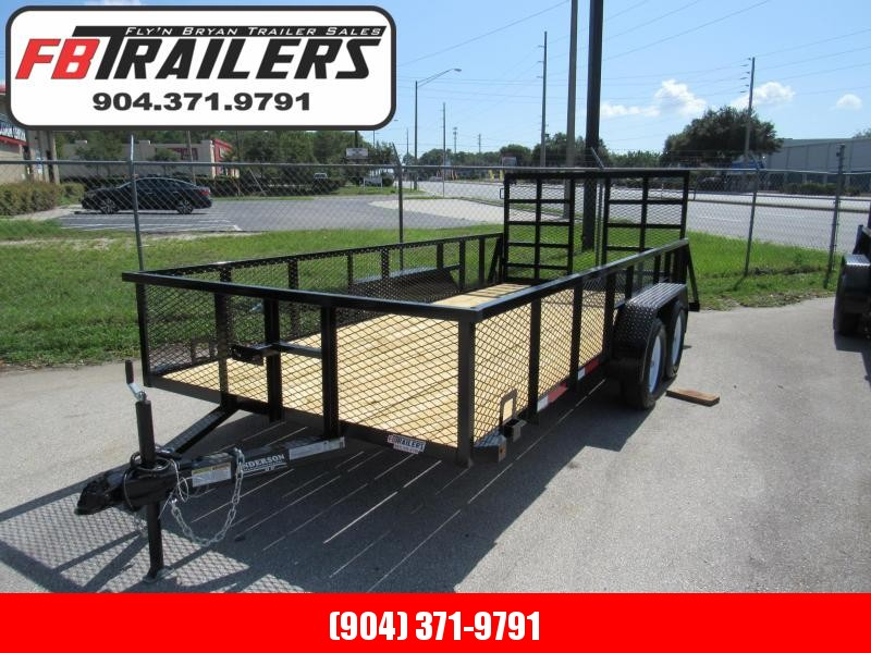 2020 Anderson Manufacturing 7X16 HD Gate and 2ft Mesh Sides Utility Trailer