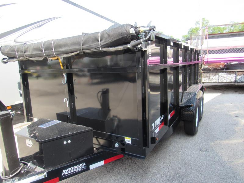 2020 Anderson Manufacturing 7X14 4ft High Sides Hydraulic Jack Dump Trailer