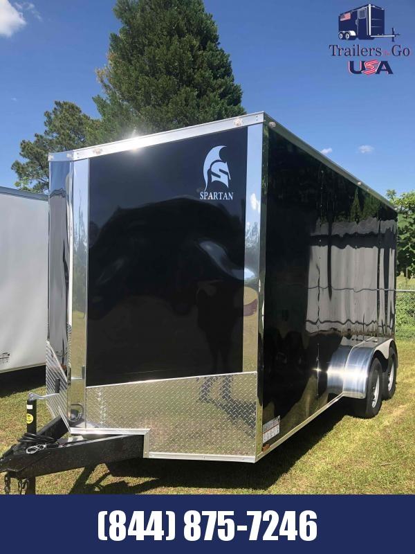 2021 Spartan Cargo 7 x16 Tandem Axle White Spatan Trailer Car / Racing Trailer