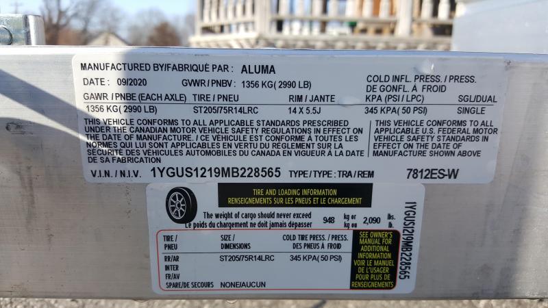 2021 Aluma 7812 ES-W Utility Trailer