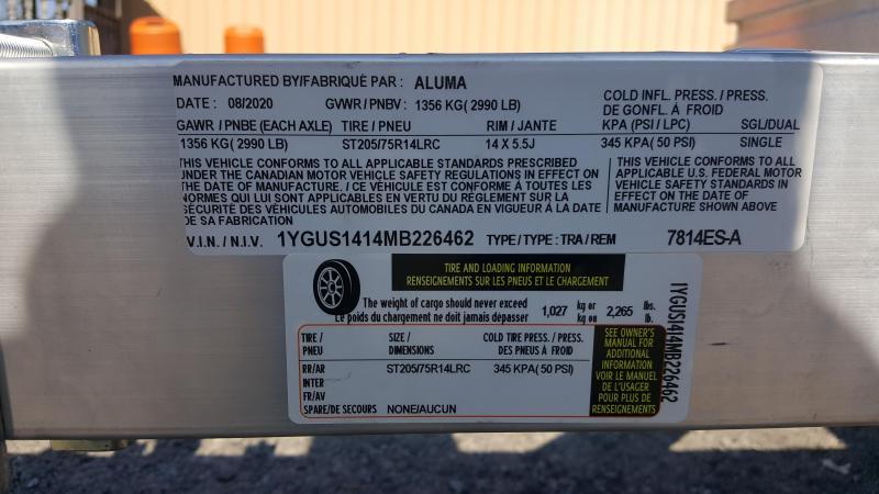 2021 Aluma 78/14ES-W Utility Trailer