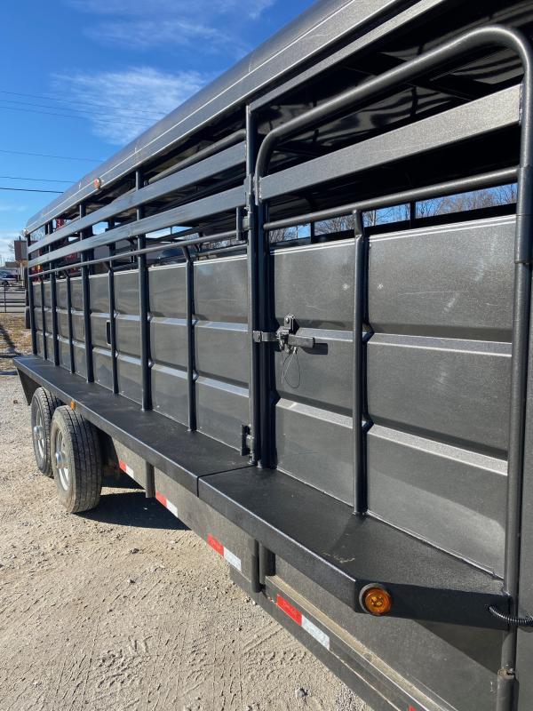 USED 2018 Delco 20 x 6'8 Metal Top Livestock Trailer