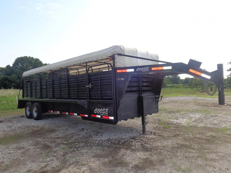 USED 2014 Coose 24 x 6'8 Black with White Tarp Top Livestock Trailer
