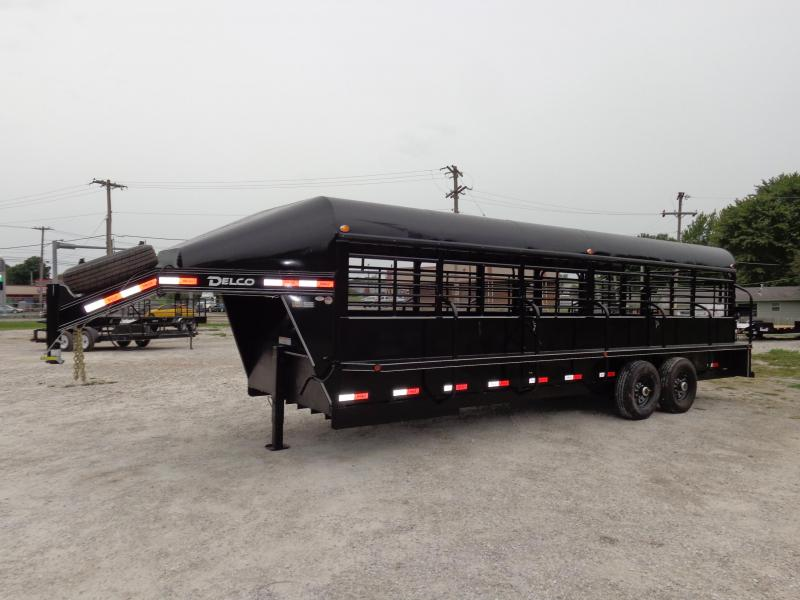Delco 24 x 6'8 Premium Gooseneck Stock Trailer Metal Top Black