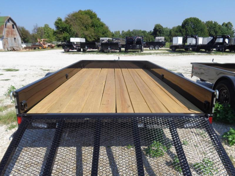 """Rice 76"""" x 12' Stealth Bumper Pull Black with Red-Out Utility Trailer"""