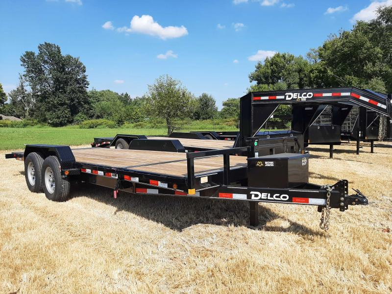 """Delco 83"""" x 16'+4' Dovetail Bumper Pull 14000# POWER Partial Tilt Flatbed"""