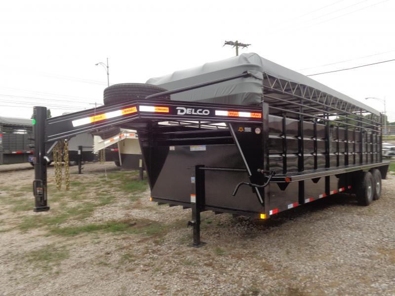 Delco 24' x 6'8 Gooseneck Powder Coated Black w/ Gray Tarp Stock Trailer
