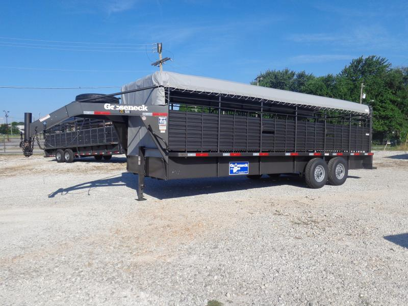 Gooseneck Brand 24' x 6'8 Gooseneck Dark Shadow Gray W/ light Gray Tarp Livestock Trailer