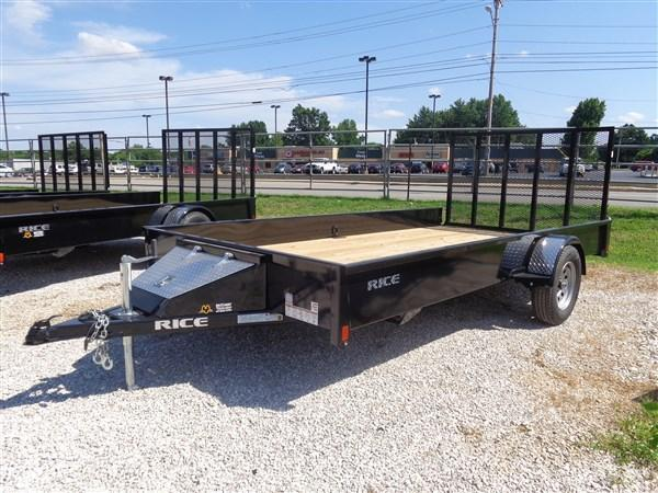 "Rice 76"" x 12' Stealth Bumper Pull Black Utility Trailer"