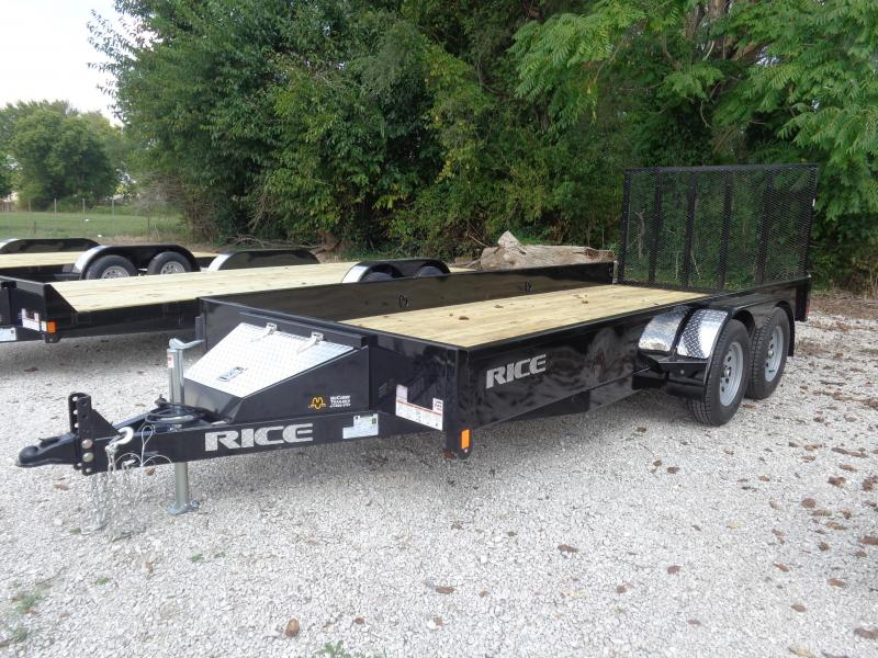 Rice 76 x 16' Tandem Stealth Bumper Pull Black Utility Trailer