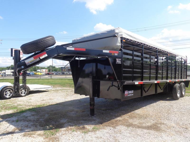"W-W 24' x 6'8"" Roustabout Gooseneck Black with Light Gray Tarp  Livestock Trailer"