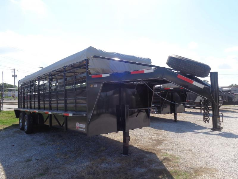 "W-W 24' x 6'8"" Roustabout Gooseneck Black with Light Gray Tarp  Livestock Trailer"