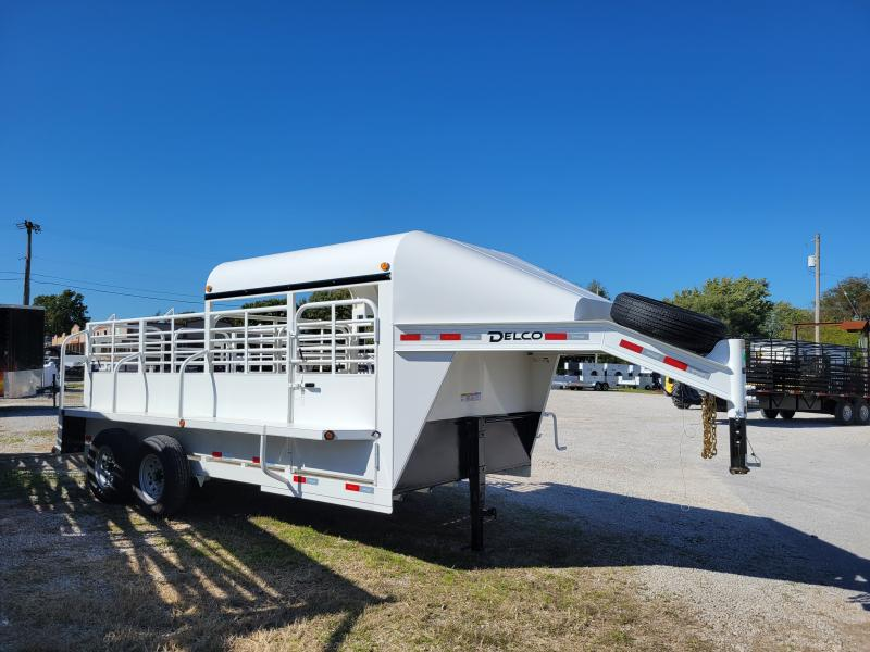 Delco 16' x 6'8 Premium Metal Top Powder Coated White Gooseneck Stock Trailer with Butterfly Slam Latch Tail Gate