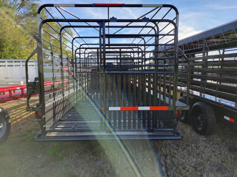 W-W Trailer 24 x 6'8 Dark Shadow Gray Light Gray Tarp Coming Livestock Trailer