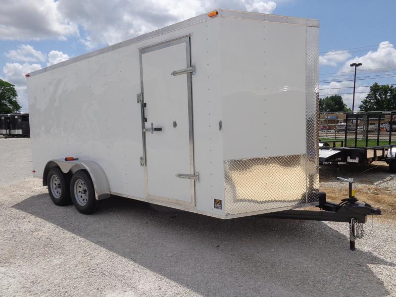 Box Cargo 7'x16' White Bumper Pull Enclosed Cargo Trailer
